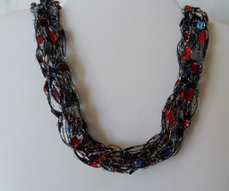 Hand Knitted Ribbon Ladder Yarn Necklace Blue and Red Item #122 - $9.95