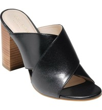 Womens Cole Haan Gabby Grand Zero Block Heel Mule Sandals Black Leather ... - $69.98