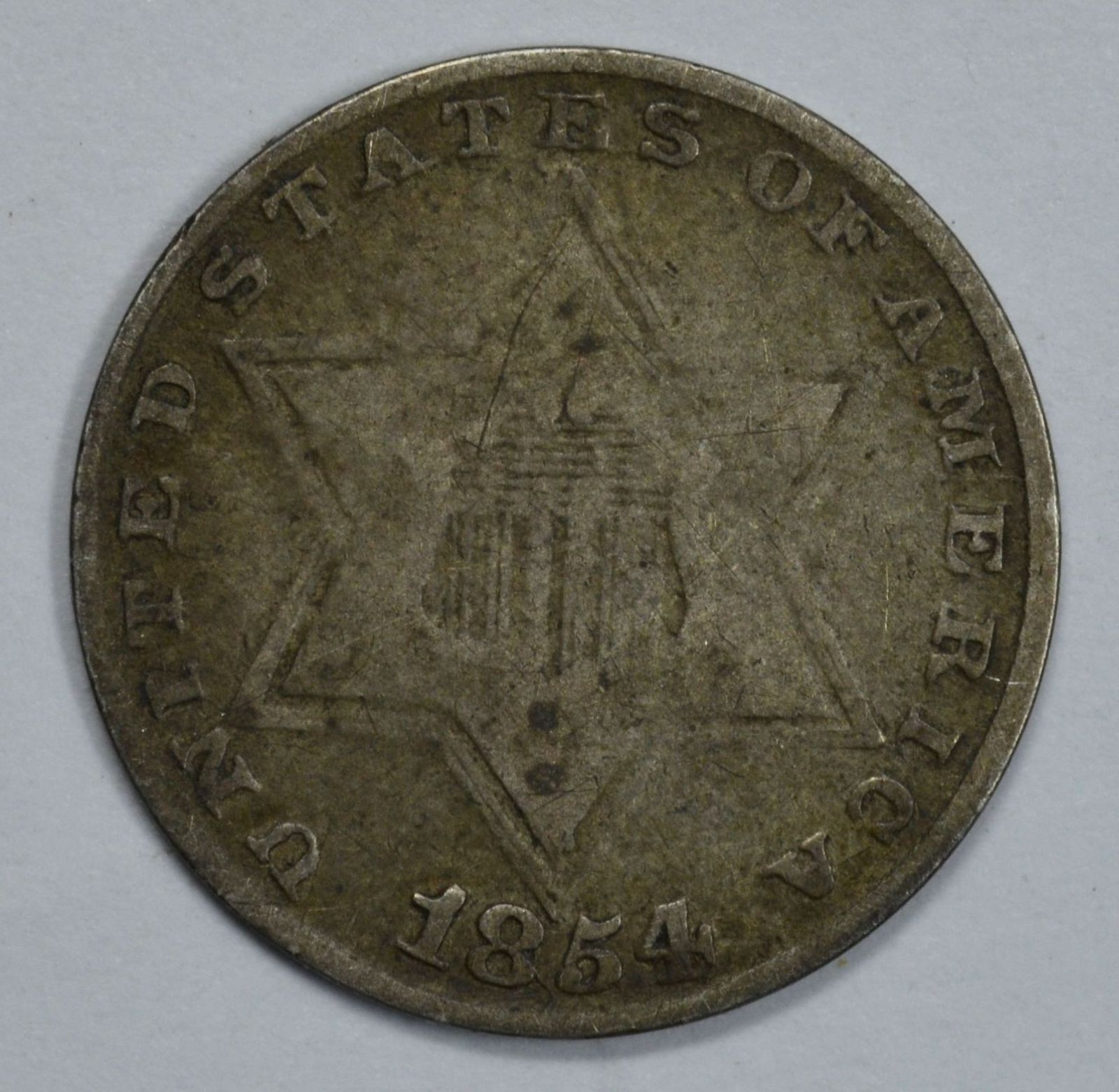 Primary image for 1854 3 cent circulated silver coin VG details