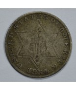 1854 3 cent circulated silver coin VG details - $35.00