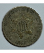 1852 3 cent circulated silver coin VF details - $50.00