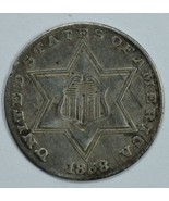 1858 3 cent circulated silver coin VF details - $80.00