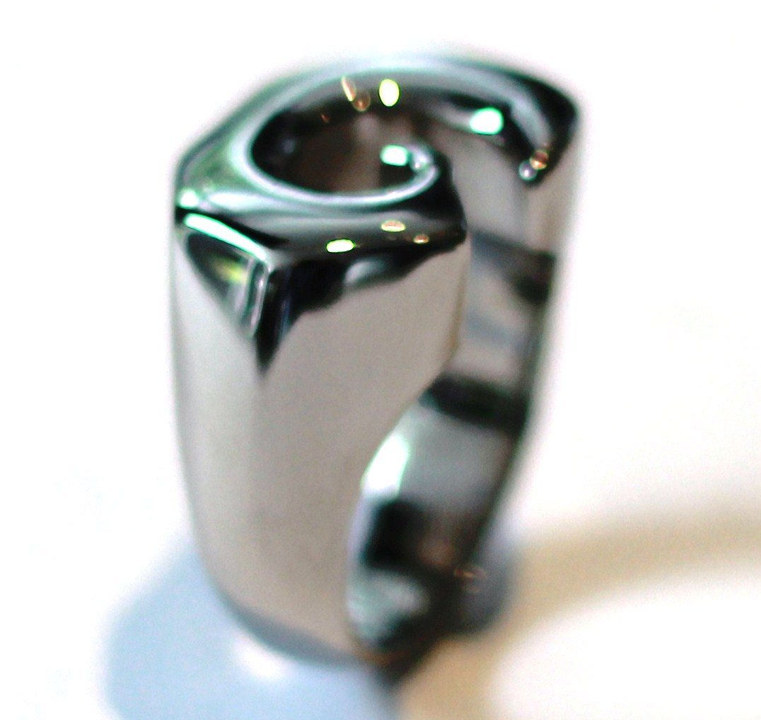 Unisex Abstract Shape Shiny Stainless Steel Ring SSR2698