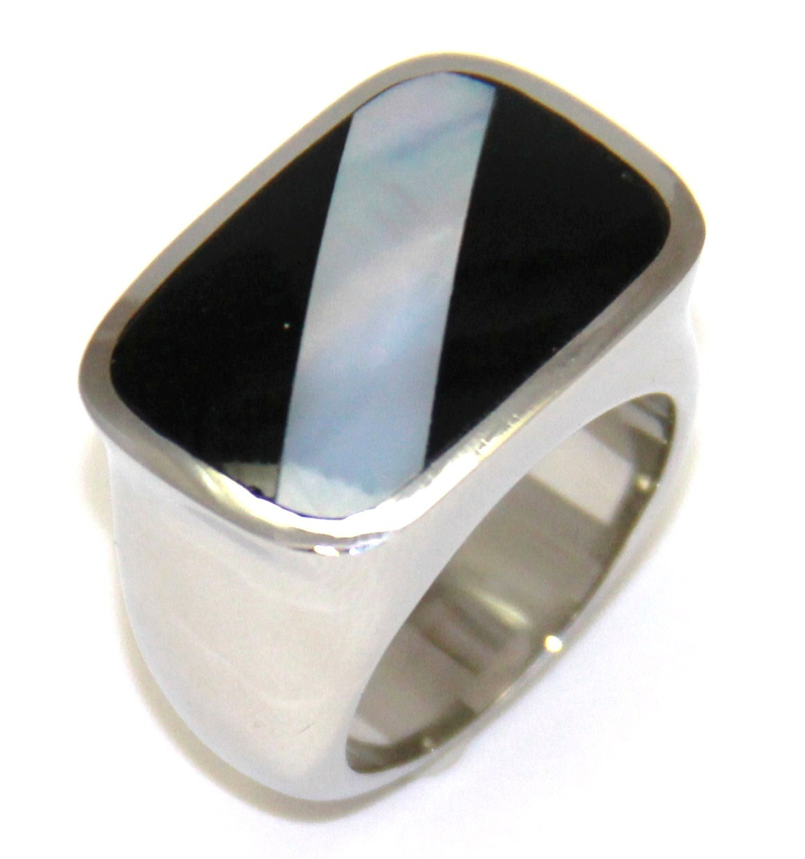SSR2799 - Stunning Black Onyx Abalone Stainless Steel Ring Size 8 AFT
