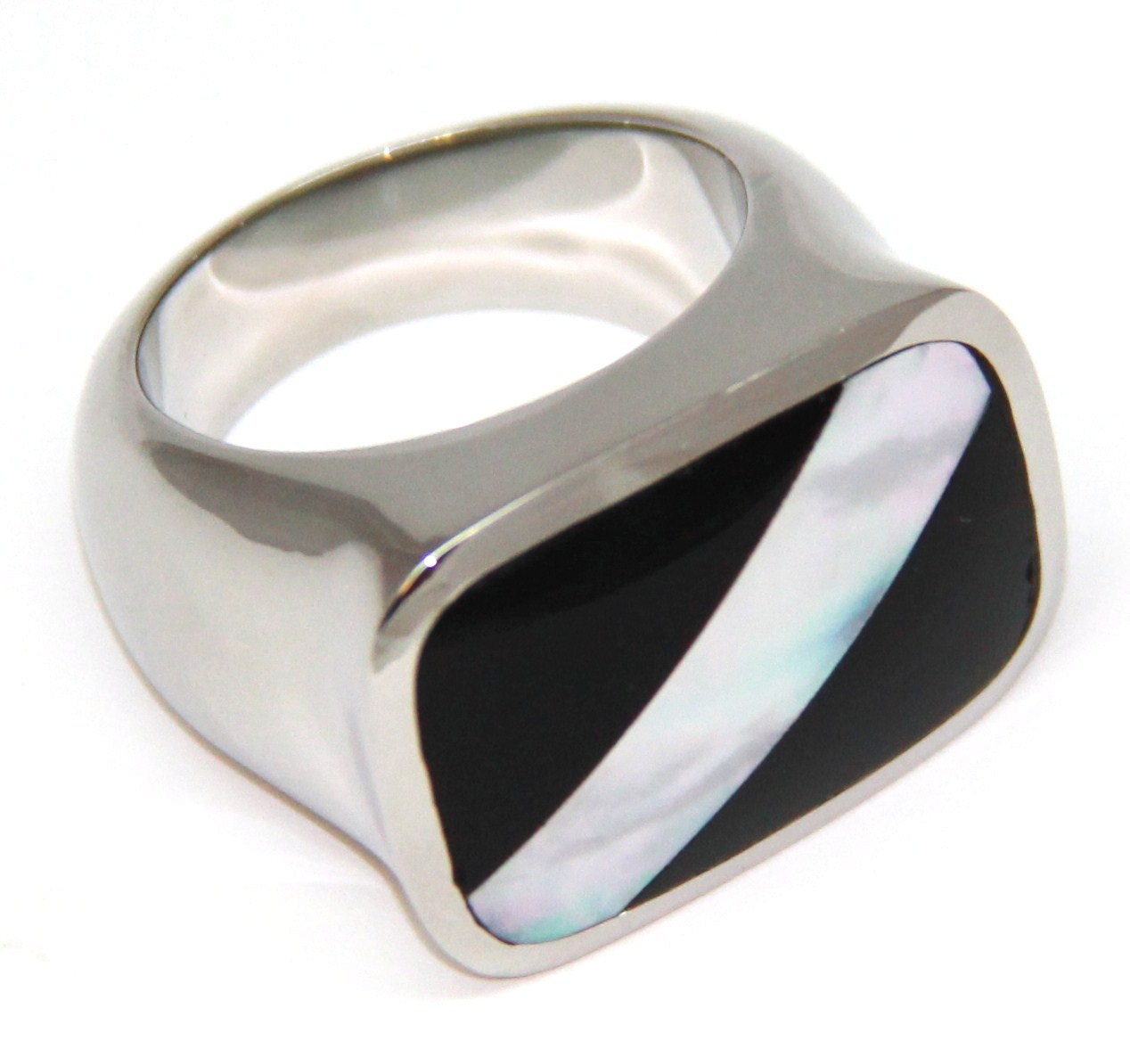 SSR2799 - Stunning Black Onyx Abalone Stainless Steel Ring Size 8