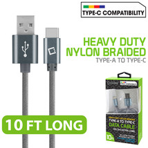 Type-C 10FT Cable Nylon Braided USB-A to USB-C  for Motorola Moto Z Play Droid - $10.95