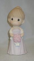 Bridesmaid Precious Moments Wedding Figurine Lavender Dress Roses Earrings NWOB - $33.65