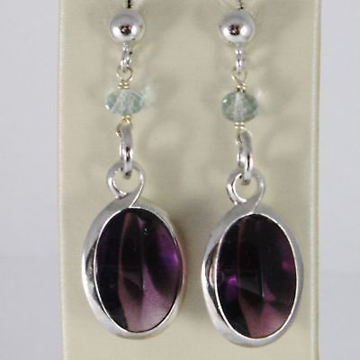 EARRINGS SILVER 925 RHODIUM WITH ZIRCON CUBIC PURPLE AND AQUAMARINE