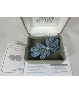 Nolan Miller Grand Flower Bouquet Hair Barrette With Blue Crystals - $34.64