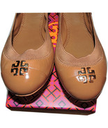 Tory Burch Jolie Ballerina Flats Tan Logo Minnie Reva Leather Ballet Sho... - $139.00