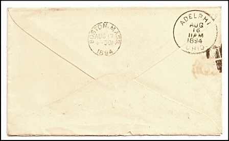 1894 South Perry OH Discontinued/Defunct (DPO) Post Office Postal Cover