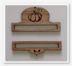 Pumpkin Wooden Bell Pull 2pc set cross stitch embroidery Fern Ridge Collections - $18.00
