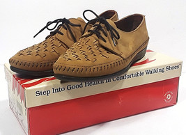 Vtg DEXTER Taupe Woven Oxfords in Box CASEY 9W Shoes Woven Lace Up Moccasins Tan - $28.53