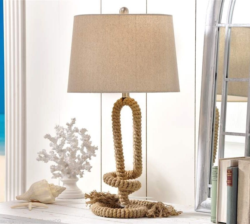 "30"" Nautical Rope Design Metal Table Lamp w Polyester Shade"