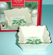 Lenox Holiday Square Small Fluted Dish Inscribed Cheer & Holly & Berry New - $16.90