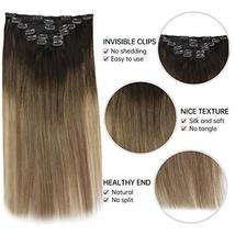 Easyouth Clip in Remy Hair Extensions Double Weft Hair Balayage Color 2 Darkest  image 2