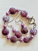 Nacre Faux Perle Violet Argent Rose Bracelet Earrings Set Neuf de Valeur - $24.90