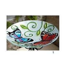 Butterfly Glass BIRD BATH w/ Stand ~ Lawn Garde... - $54.39