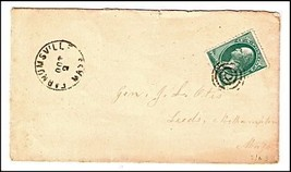 c1875 Farnumsville MA Discontinued/Defunct (DPO) Post Office Postal Cover - $9.95