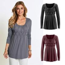 Women Casual Basic Solid Row Pleats Ruched O-Neck Long Sleeve Top T-Shir... - $42.27