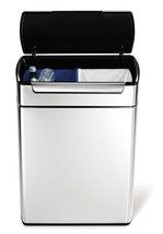 Simplehuman Trash Cans Stainless Steel Touch Bar Recycle Can Bin 48 Liter - $245.00