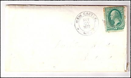1879 New Castle ME Discontinued/Defunct (DPO) Post Office Postal Cover