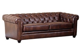 Awesome Tufted Leather Chesterfield Large Sofa,86'' X 39'' X 29.5''H. - $3,242.25