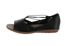 Earth Leather Perforated Slip-on Sandals Camellia Nauset Black 9M NEW A3... - $60.37
