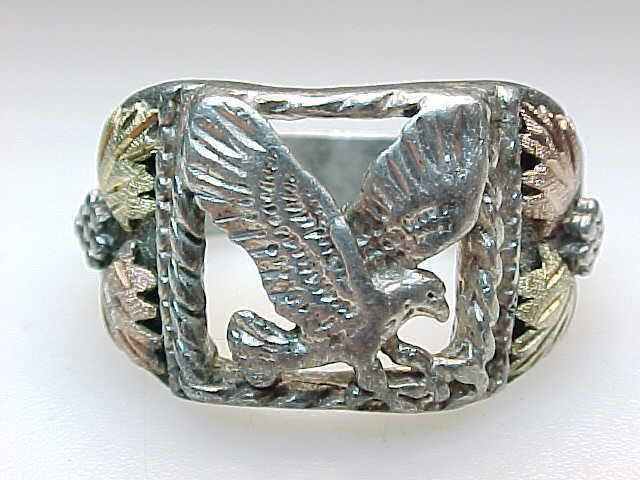 Vintage BLACK HILLS GOLD Sterling Silver EAGLE RING - Size 10 3/4