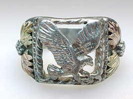 Vintage BLACK HILLS GOLD Sterling Silver EAGLE RING - Size 10 3/4 - $225.00