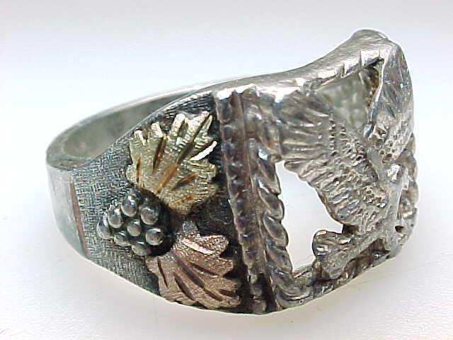 Vintage BLACK HILLS GOLD Sterling Silver EAGLE RING - Size 10 3/4 image 2