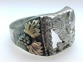 Vintage BLACK HILLS GOLD Sterling Silver EAGLE RING - Size 10 3/4 image 3