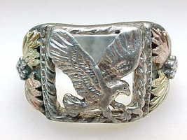 Vintage BLACK HILLS GOLD Sterling Silver EAGLE RING - Size 10 3/4 image 4