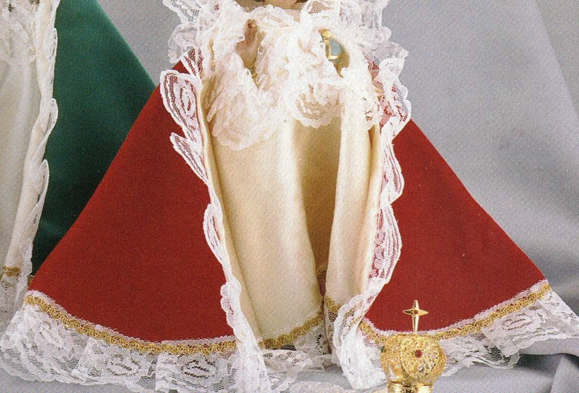 Infant Jesus of Prague - 9 inch Statue with Red Satin Gowned