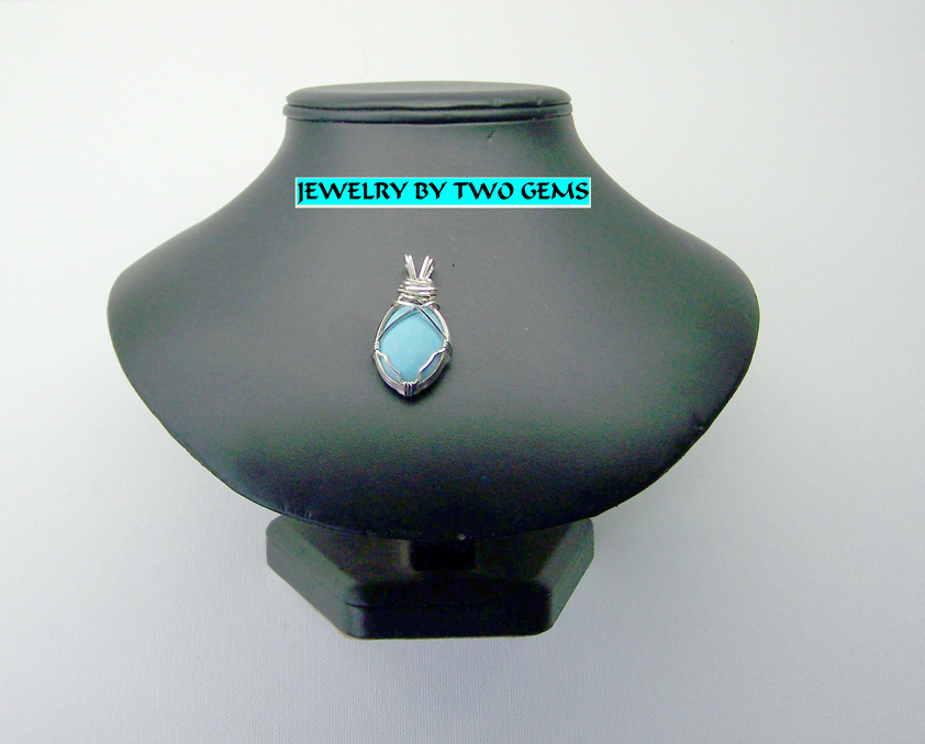 Jewelry By Two Gems (Wp49) Sterling Silver Wire Wrap Pendant w Turquoise