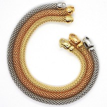 3 18K ROSE YELLOW WHITE GOLD BRACELETS 7.3 INCHES, BASKET WEAVE, 5 MM THICKNESS image 2