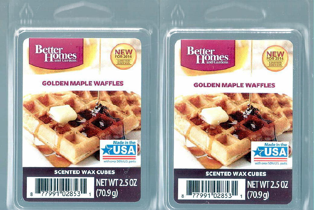 Golden maple waffle better homes and gardens scented wax cubes candles for Better homes and gardens wax melts