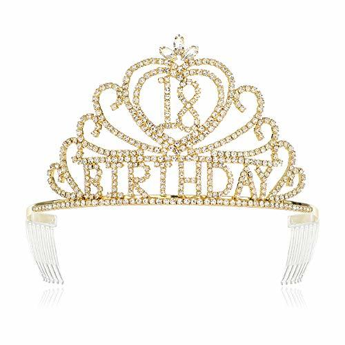DcZeRong Girls 18 Birthday Tiara Crown Gold Women 18th