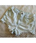 Hollister Cutoff Denim Shorts Sz 5 27 Destroyed Light Wash Ripped 100% C... - $26.71