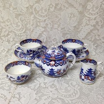 Antique, Rare, England, Royal Worcester 8-pc Variant, Gaudy Blue Willow Tea Set - $332.45
