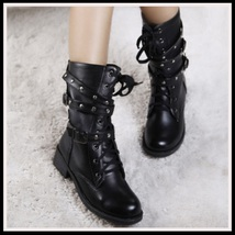 Black Flat Biker Combat Lace up Slip-ons with Buckle Rivets Motorcycle Boots