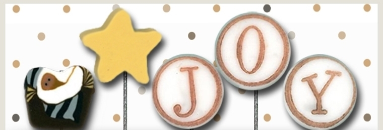 J is for Joy JP141 set 5 for pincushions JABC Just Another Button Co