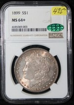 1899 Ms 64 + Cac Morgan Argent Dollar-Ngc Graded-Better Date-Better Grade - $494.71