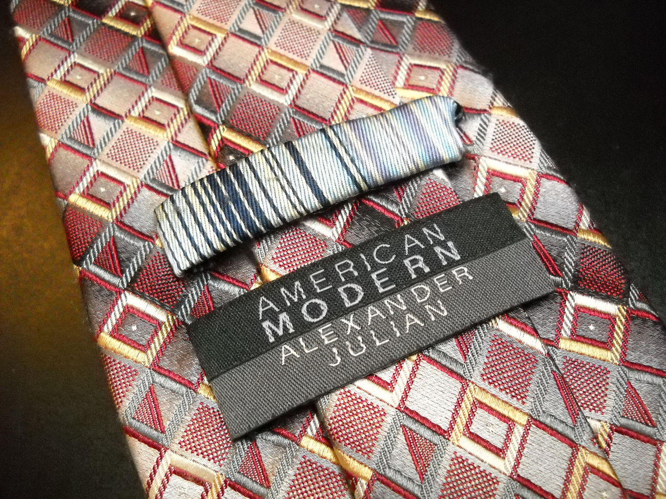 American Modern Alexander Julian Neck Tie Rusts Greys Gold Silver Hand Made Silk