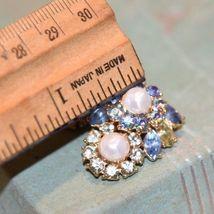 Vintage Trifari Clip  Earrings Faux Pearl PRONG SET  Rhinestone BLUE LT.GREEN image 6
