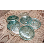 "7 Vintage Ball Mason Jar Canning Lids Only Blue/Clear 3"" Wire Bail Closu... - $19.62"
