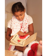 White Christmas Stole with red faux fur backing Xmas gift for girls - $42.50