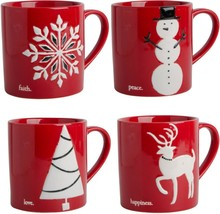 4 ASSORTED PALOMA 15 OZ EMBOSSED CHRISTMAS MUGS BY HOME ESSENTIALS - ₹3,728.51 INR