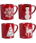 4 ASSORTED PALOMA 15 OZ EMBOSSED CHRISTMAS MUGS BY HOME ESSENTIALS - $52.42