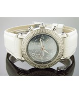 Aqua Master Round 40MM 20 Diamond Watch Dark M-O-P Face white Band - $173.25